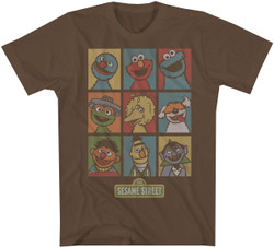 Image for Sesame Street Puppets Grid T-Shirt