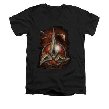Image for Star Trek the Next Generation V Neck T-Shirt - Klingon Crest