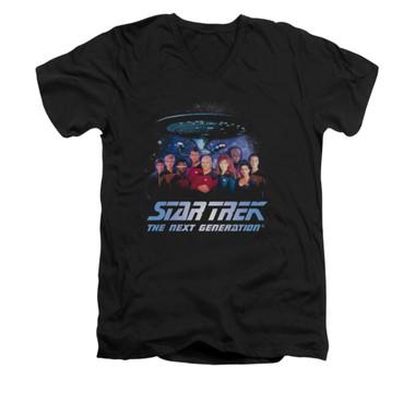 Image for Star Trek the Next Generation V Neck T-Shirt - Space Group