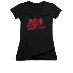 Image for Star Trek the Next Generation Girls V Neck - Real Captains Don't Need Hair