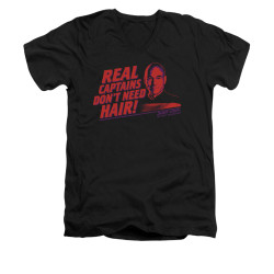Image for Star Trek the Next Generation V Neck T-Shirt - Real Captains Don't Need Hair