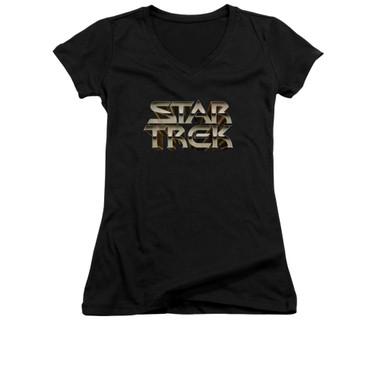 Image for Star Trek Girls V Neck - Feel the Steel Logo