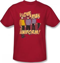 Image Closeup for Star Trek T-Shirt - I Love a Man in Uniform