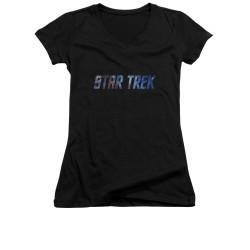 Image for Star Trek Girls V Neck - Space Logo