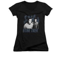 Image for Star Trek Girls V Neck - Kirk Spock and Company