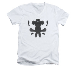 Image for The Watchmen V Neck T-Shirt - Rorshcach Face