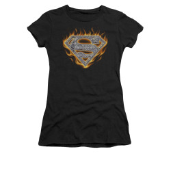 Image for Superman Juniors T-Shirt - Steel Fire Shield