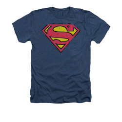 Image for Superman Heather T-Shirt - Distressed Shield