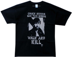 Image Closeup for Chuck Norris Walk and Kill T-Shirt