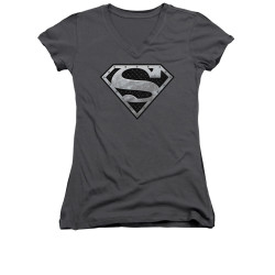 Image for Superman Girls V Neck - Super Metallic Shield