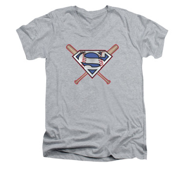 Image for Superman V Neck T-Shirt - Crossed Bats