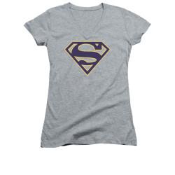 Image for Superman Girls V Neck - Navy & Gold Shield