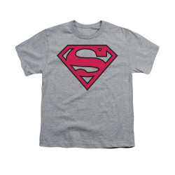 Image for Superman Youth T-Shirt - Red & Black Shield