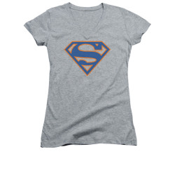Image for Superman Girls V Neck - Blue & Orange Shield