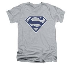 Image for Superman V Neck T-Shirt - Navy & White Shield