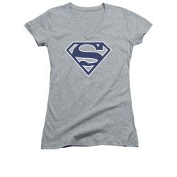 Image for Superman Girls V Neck - Navy & White Shield
