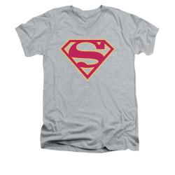 Image for Superman V Neck T-Shirt - Red & Gold Shield