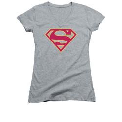 Image for Superman Girls V Neck - Red & Gold Shield