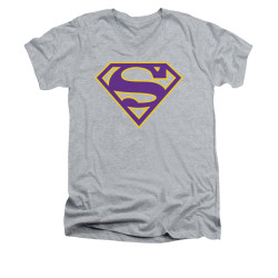 Image for Superman V Neck T-Shirt - Purple & Gold Shield