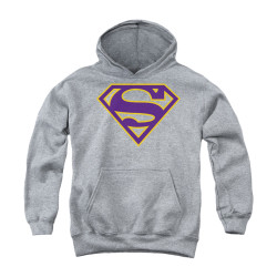 Image for Superman Youth Hoodie - Purple & Gold Shield