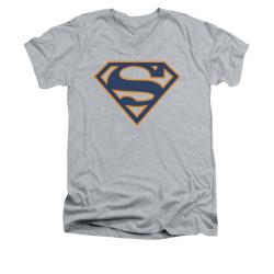 Image for Superman V Neck T-Shirt - Navy & Orange Shield
