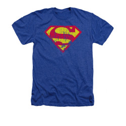 Image for Superman Heather T-Shirt - Classic Logo Distressed