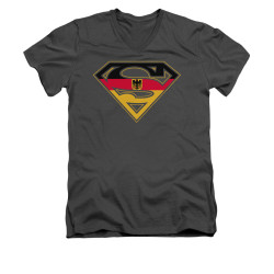 Image for Superman V Neck T-Shirt - German Shield