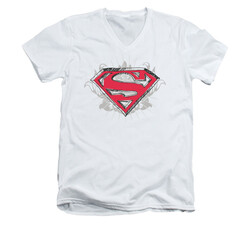 Image for Superman V Neck T-Shirt - Hastily Drawn Shield