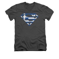 Image for Superman V Neck T-Shirt - Greek Shield