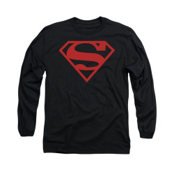 Image for Superman Long Sleeve Shirt - Red On Black Shield