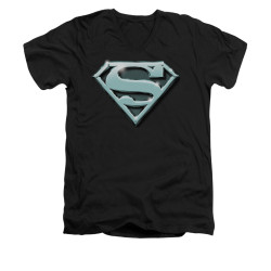 Image for Superman V Neck T-Shirt - Chrome Shield