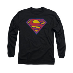 Image for Superman Long Sleeve Shirt - Sm Neon Distress Logo