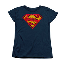 Image for Superman Womans T-Shirt - Shattered Shield