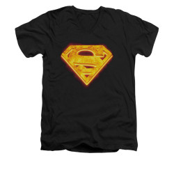 Image for Superman V Neck T-Shirt - Hot Steel Shield