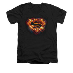 Image for Superman V Neck T-Shirt - Space Burst Shield