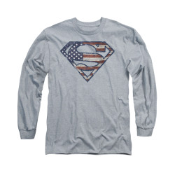 Image for Superman Long Sleeve Shirt - Wartorn Flag