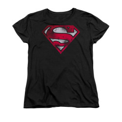 Image for Superman Womans T-Shirt - War Torn Shield