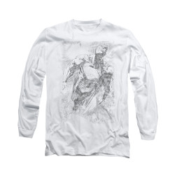Image for Superman Long Sleeve Shirt - Exploding Space Sketch