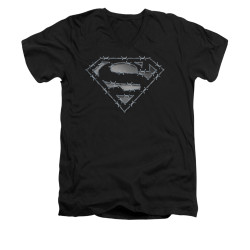 Image for Superman V Neck T-Shirt - Barbed Wire