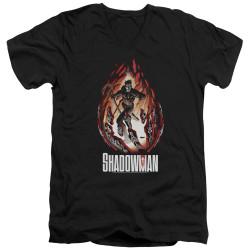 Image for Shadowman V Neck T-Shirt - Burst