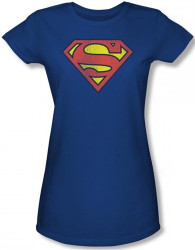 Image for Superman Classic Distressed Logo Girls T-Shirt