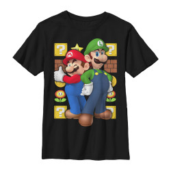 Image for Mario Bros Youth T-Shirt - Two Time