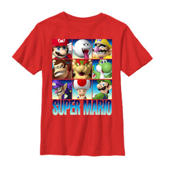 Image for Mario Bros Youth T-Shirt - Character Grid