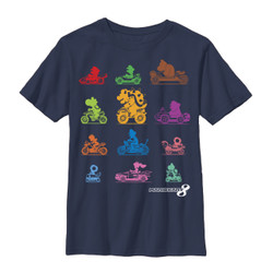 Image for Mario Bros Youth T-Shirt - Mariokart Racer Roster