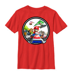 Image for Mario Bros Youth T-Shirt - Mariokart Kart Circle