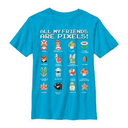 Image for Mario Bros Youth T-Shirt - Pixel Friends