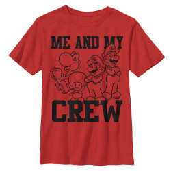 Image for Mario Bros Youth T-Shirt - Me and My Crew