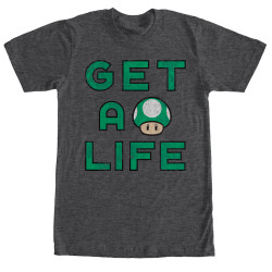 Image for Mario Bros Get a Life Heather T-Shirt