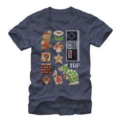 Image for Mario Bros Retro Set Heather T-Shirt