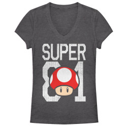 Image for Mario Bros Girls Heather V Neck - Mushroom Jersey